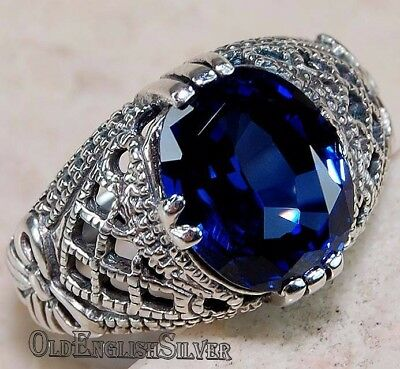 3CT Blue Sapphire 925 Solid Sterling Silver Art Deco Filigree Ring jewelry Sz 6