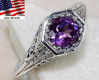 1CT Color Changing Alexandrite 925 Sterling Silver Art Deco Ring jewelry Sz 6