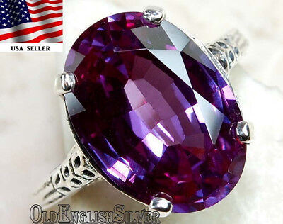 3CT Color Changing Alexandrite 925 Sterling Silver Art Deco Ring Jewelry Sz 8