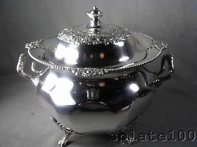 Large Victorian Silver Plate Ornate Soup Tureen By Victor