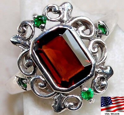 1CT Emerald & Fire Garnet 925 Solid Sterling Silver Art Deco Ring jewelry Sz 7