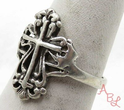 Sterling Silver Vintage 925 Religious Cross Filigree Ring Sz 7 (2.9g) - 575632