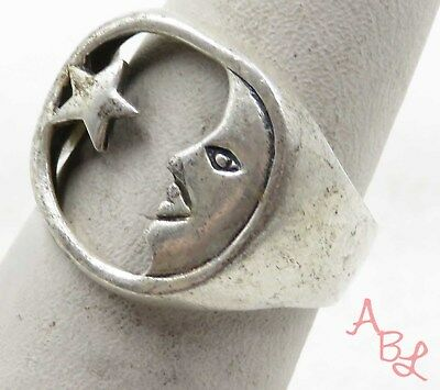 Sterling Silver Vintage 925 Face With Star Ring Sz 8.75 (4.8g) - 575637