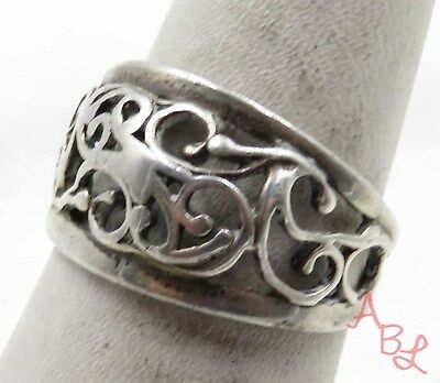 Sterling Silver Vintage 925 Filigree Band Ring Sz 7.5 (3.3g) - 575585