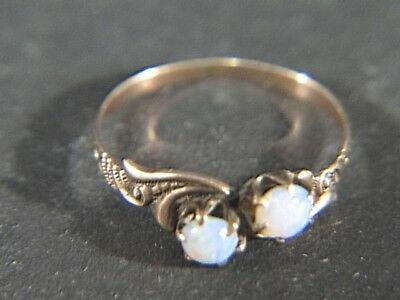 Victorian 10K Rose Gold Double Opal RING Size 6