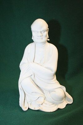 Blanc De Chine Guanyin Porcelain 12 Inch Tall Statue, White Glazed Porcelain