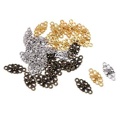 30pcs Filigree Flower Beads Pendants Connector Charms for Jewelry Making