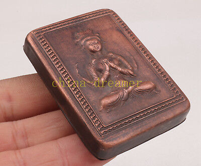 Precious Bronze Statue Guanyin Statue Seal Box Collectable Old Decoration