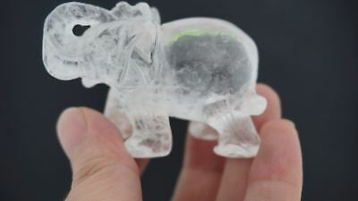 100% Natural CLEAR QUARTZ CRYSTAL Gemstone Hand Carved Elephant  1.5''