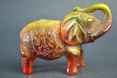 China Collectible Decor Amber Resin Elephant Lucky Bless Statue Noble