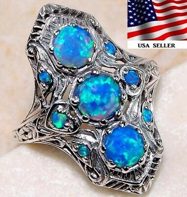 2CT Blue Fire Opal 925 Solid Sterling Silver Art Deco Filigree Ring jewelry Sz 7