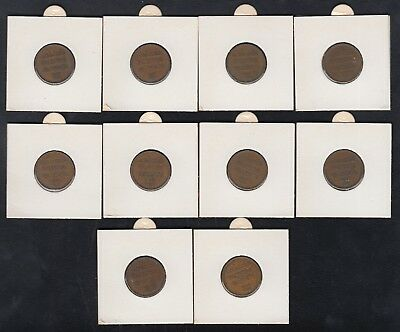 Complete Set of Israel Palestine 1 Mil British Mandate Coins - Lot of 10 Coins