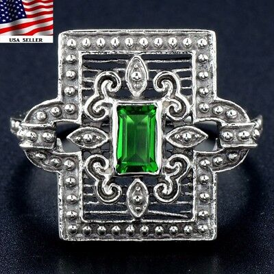 1CT Emerald 925 Solid Sterling Silver Art Nouveau Filigree Ring jewelry Sz 6