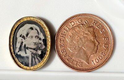 Ambrotype tinted miniature portrait. Smaller than a penny! In lovely oval frame