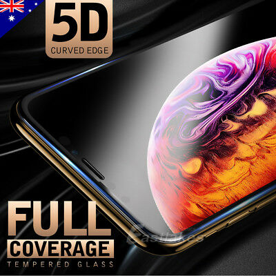 Apple iPhone XS Max XR X 5D Full Coverage Tempered Glass Screen Protector Clear