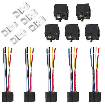 5 Pcs Car SPDT Automotive Relay 5 Pin 5 Wires DC 12V w/Harness Socket 30/40 Amp