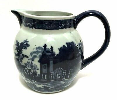 Antique Victoria Ware Pitcher Large Ironstone Flow Blue Village Scene 8 in Tall