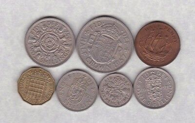 1957 Elizabeth Ii Set Of 7 Coins In Very Fine Or Better Condition