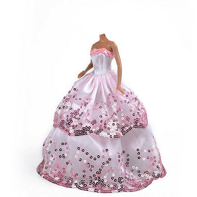 Pink Wedding Party Dress Clothes Sequin Handmade Gown for Barbie Doll Fashion#