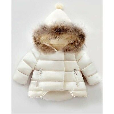 Winter New Baby Kids Girls Long Sleeve Fur Hoodie Hooded Jacket Coat Outerwear