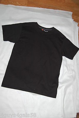 Boys S/S Tee Shirt SOLID BLACK Hanes Beefy Tee SOFT & DURABLE Size M