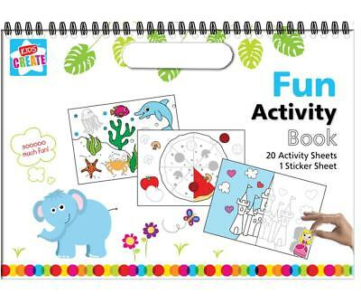 Sticker & Colouring In Spiral Activity Books Creative Fun Kids Toddlers Designs