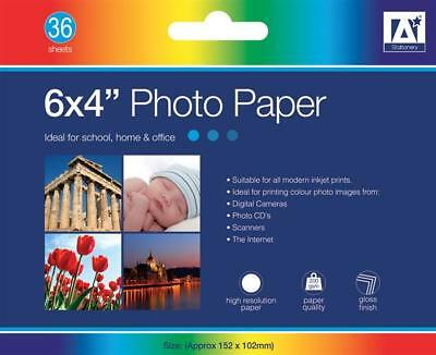 36 PACK of 6x4 Gloss Photo Paper Suitable For All Modern Ink Printer Media