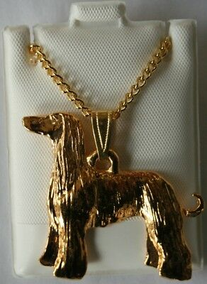 Afgan Hound Dog 24K Gold Plated Pewter Pendant Chain Necklace Set