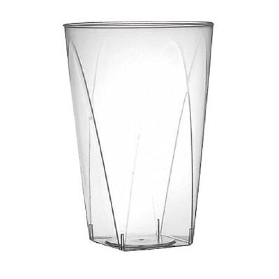 Clear 10oz Disposable Plastic Square Bottom Tumblers Cups Wedding NEW