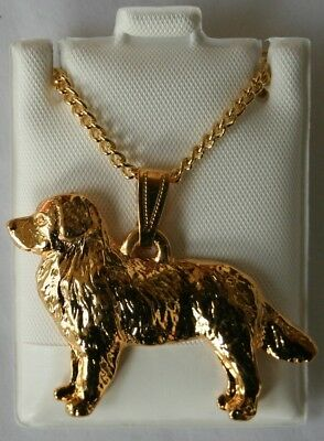 Bernese Mountain Dog Dog 24K Gold Plated Pewter Pendant Chain Necklace Set