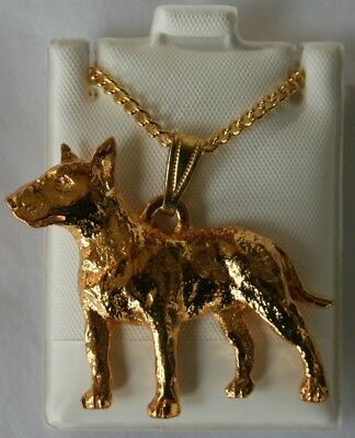 Bull Terrier Dog 24K Gold Plated Pewter Pendant Chain Necklace Set