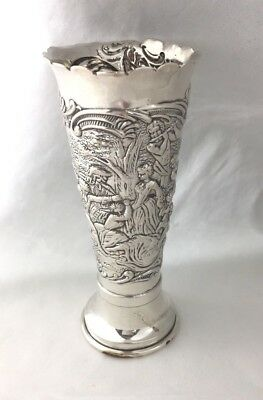 French 800? Sterling Figural Scenic Vase - 3 7/8""