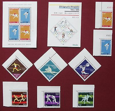 POLAND- 1964 TOKYO OLYMPICS Blok 31 & 32 with Full Set of 8 Marginals all MNH