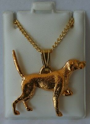 English Pointer Dog 24K Gold Plated Pewter Pendant Chain Necklace Set