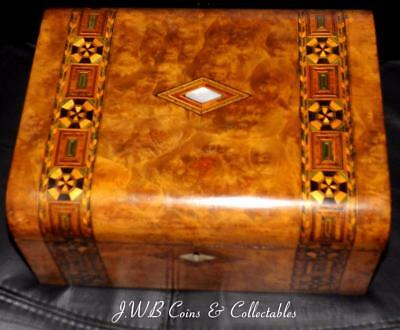 Antique 19thC Parquetry Inlaid Banded Walnut Writing Slope With Mother Of Pearl