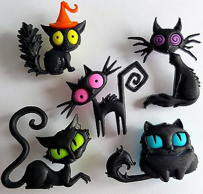CREEPED OUT CATS Kitten Black Animal Spooky Halloween Dress It Up Craft Buttons