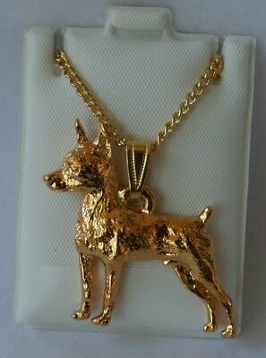 Miniature Pinscher Dog 24K Gold Plated Pewter Pendant Chain Necklace Set