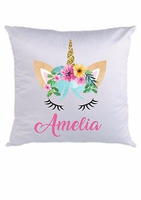 PERSONALISED CUSHION COVER  * ANY NAME ADDED * 16 x 16  * unicorn face