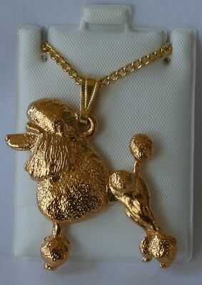 Poodle Show Cut Dog 24K Gold Plated Pewter Pendant Chain Necklace Set