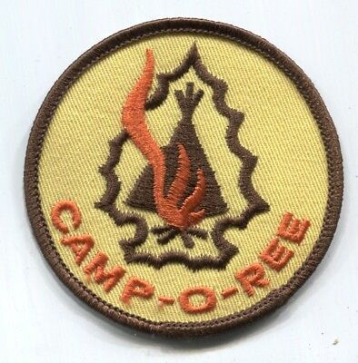 BSA generic camporee scout patch - tipi tent, flaming campfire, arrowhead