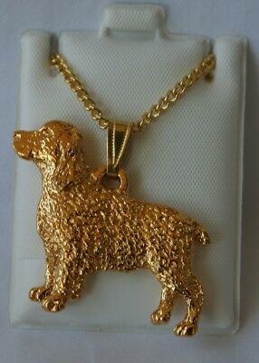 Springer Spaniel Dog 24K Gold Plated Pewter Pendant Chain Necklace Set