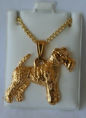 Wire Hair Fox Terrier  Dog 24K Gold Plated Pewter Pendant Chain Necklace Set