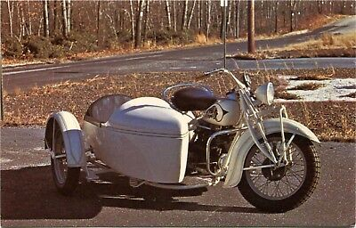 (#241) 1938 Indian 4 Cylinder Touring Motorcycle with Sidecar 1970s Postcard