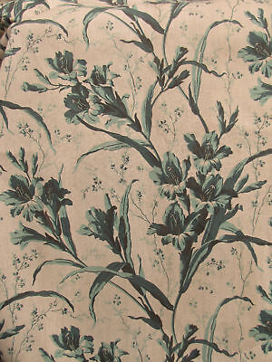 Antique French  green floral  curtain c1860 Gladiola ~ ( ONE of a set )