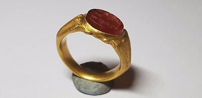 Roman Gold Ring with Oval Shaped Intaglio 2nd,3rd  century AD