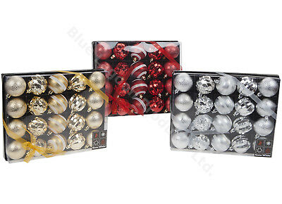 20 Deluxe Gold Red Silver Luxury 7cm Christmas Tree Bauble Decorations Gift Box