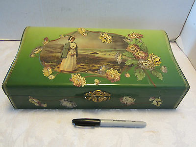 "Victorian Celluloid box Vanity Dresser FLORENCE NIGHTINGALE Nurse Green 13"" wide"