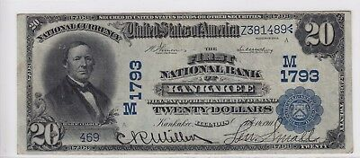 1902 First National Bank of Kankakee IL $20 Note Date Back CH# 1793 469 Rare!