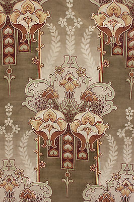Antique French Art Nouveau fabric curtain panel green material drape w/ rings