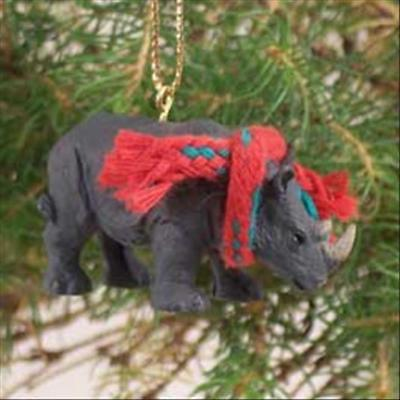 Rhinoceros with Scarf Tiny One Miniature Small Christmas ORNAMENT